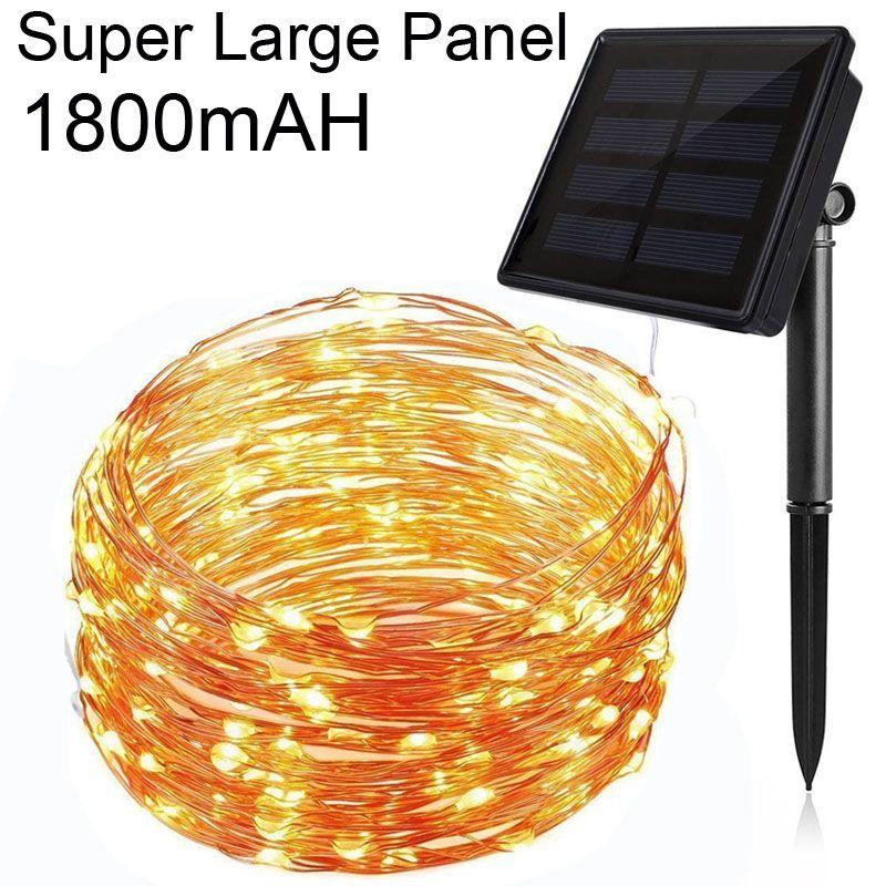 1800 mAh 20 M/66Ft 200LED 8 Modèle Garde Solaire Fil De Cuivre LED Chaîne Lumière Extérieure Imperméable À L'eau Pour Le Mariage Décoration de noël