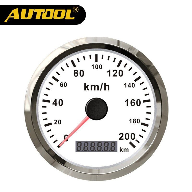 AUTOOL Universal Auto GPS Speedometer 200km/h 85mm Waterproof Stainless Steel Digital Display Gauges For Car Truck Motor 12/24V