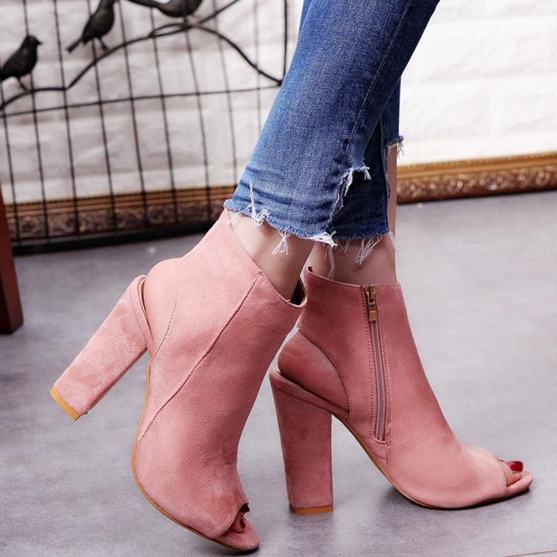2017 Fashion Women\'s Spring Summer Open Toe Boots Casual Faux Suede Ankle Boots Thick High Heels Peep Toe Women Boots