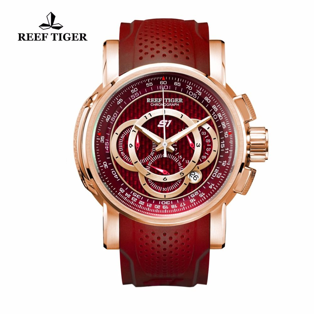 Reef Tiger/RT Sport Quartz Mens Watches with Chronograph Date Big Red Dial Rose Gold Watch with Rubber Strap RGA3063