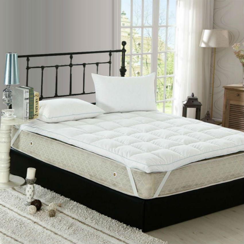 Peter Khanun Top Qualität Weiß Ente Feder Füllstoff Bett Matratze 100% Baumwolle 233TC Einzigen Schicht Matratze Blau Satin Einfassung 027