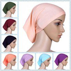 À tête musulmane Hijabs Intérieure pour les femmes hijabs carrés dames foulard islamique écharpe chapeau shimmer femee pas cher en gros