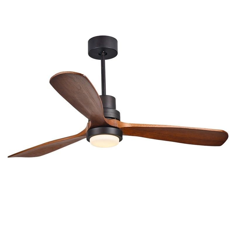Modern Remote Control 52 Inch Wooden Blades Retro Ceiling Fan With AC220V Input 15W Ceiling lights