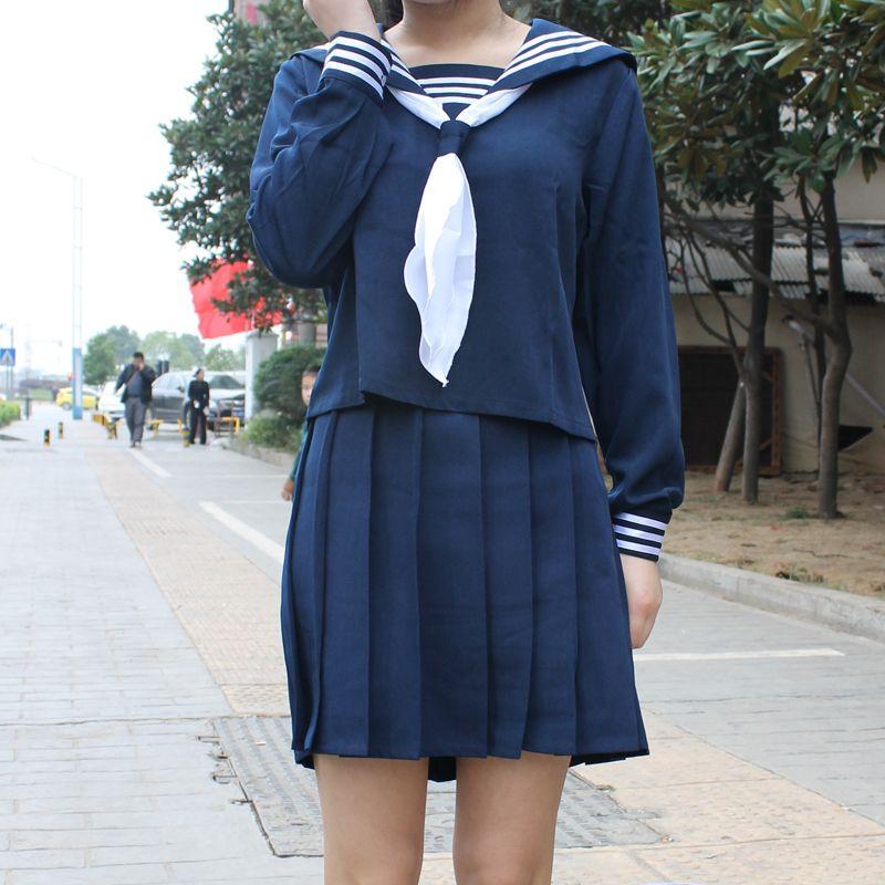 Japonais classique bleu foncé à manches longues marin uniformes blanc col serviette japon lycée JK uniforme cosplay Sexy mignon fille