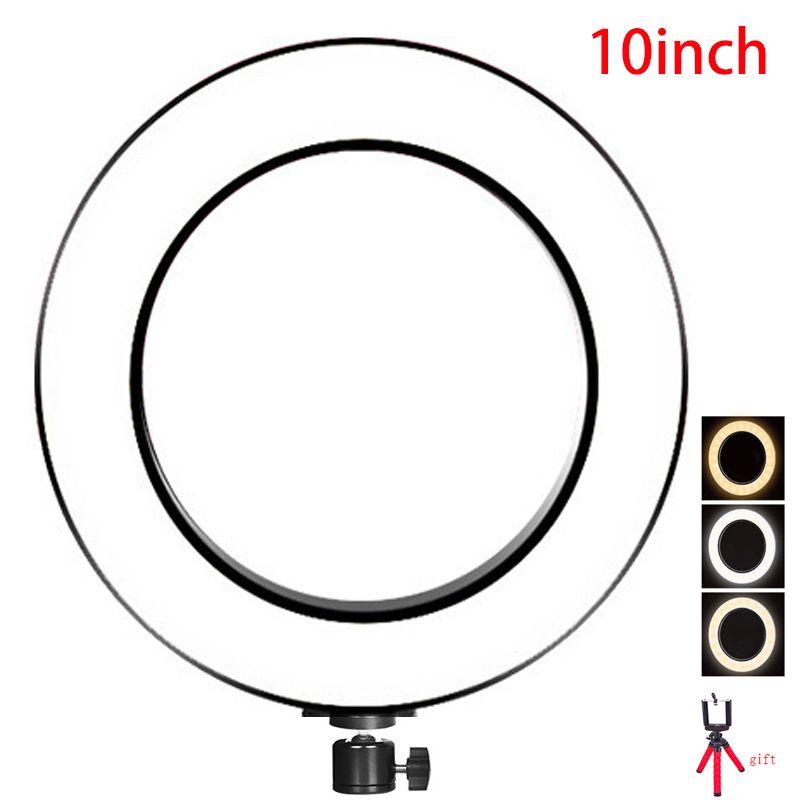 16cm 26cm anneau LED éclairage photographie LED Selfie anneau lumière 3 étapes de couleurs blanc et jaune couleur LED mini trépied pour Photo