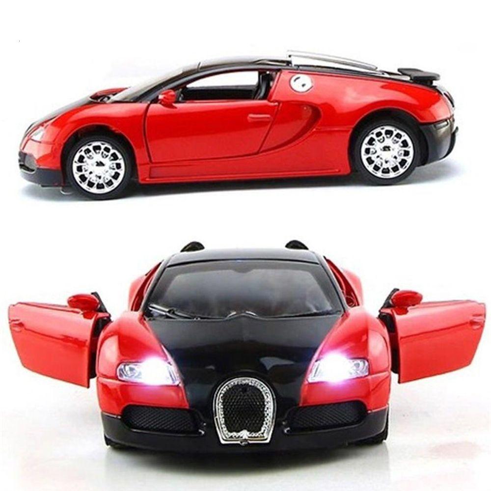 1:36 modèle de voiture à l'échelle Bugatti Veyron modèle de voiture moulé sous pression avec son et lumière Collection voiture jouets véhicule cadeau pour enfants