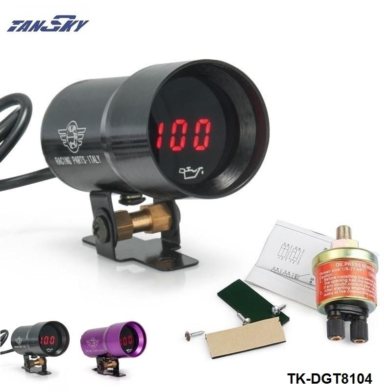 TANSKY  -37mm MICRO DIGITAL SMOKED OIL PRESSURE GAUGE 3-4-6-8 CYLINDER ENGINES Black,Purple For Ford FOCUS 2.0 TK-DGT8104