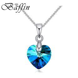 Baffin mini xilion corazón colgante collar cristales de Swarovski Elements color plata Collares de cadena para las mujeres joyería de los cabritos