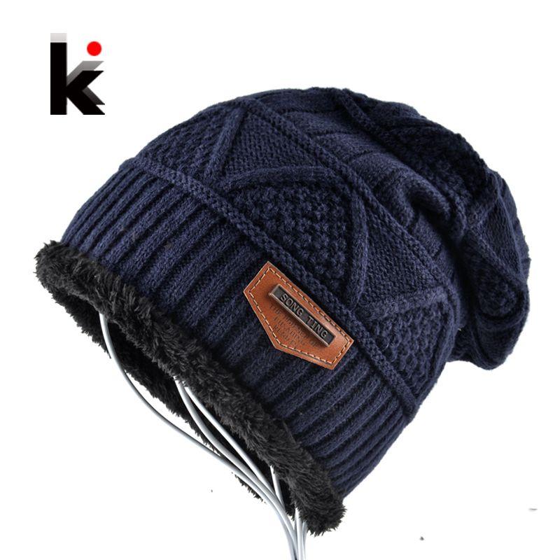 Men's Skullies Hat Bonnet Winter Beanie Knitted Wool Hat Plus Velvet Cap Thicker Mask Fringe Beanies Hats for men