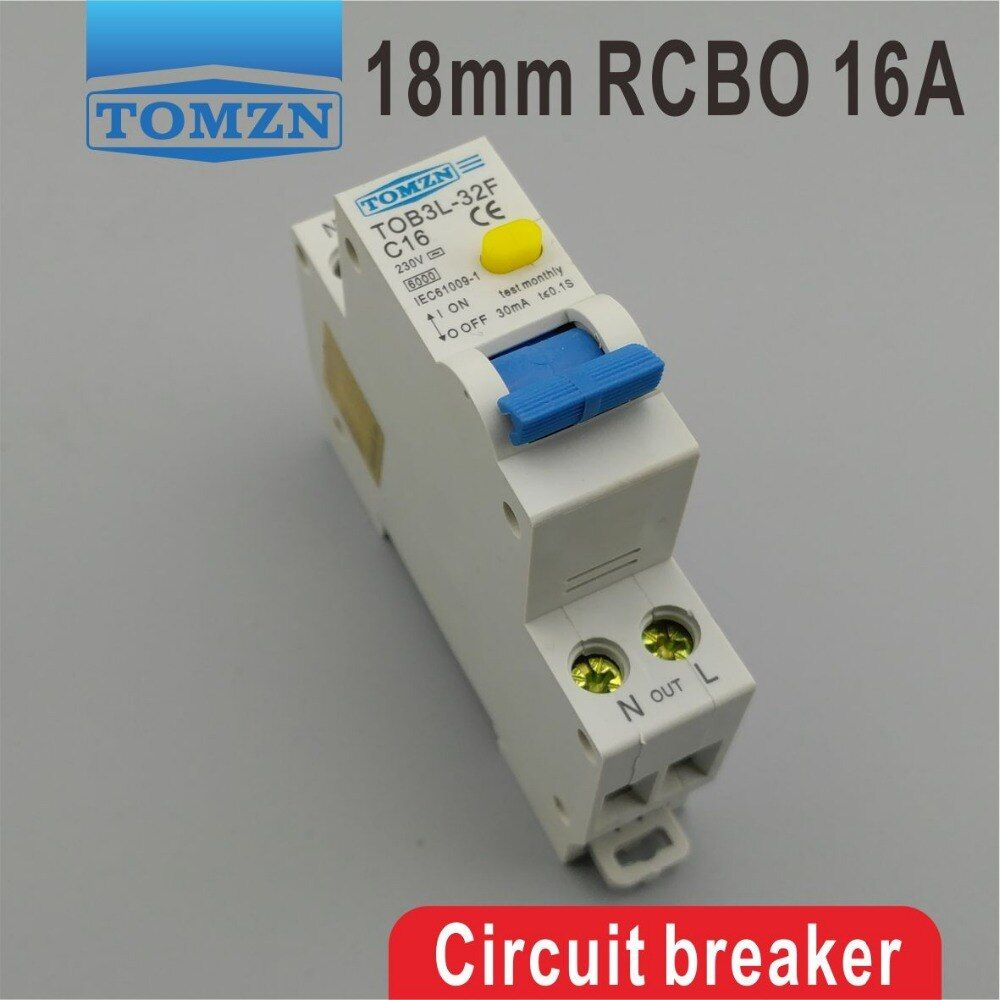 TOB3L-32F 18MM RCBO 16A 1P+N 6KA Residual current Circuit breaker with over current and Leakage protection