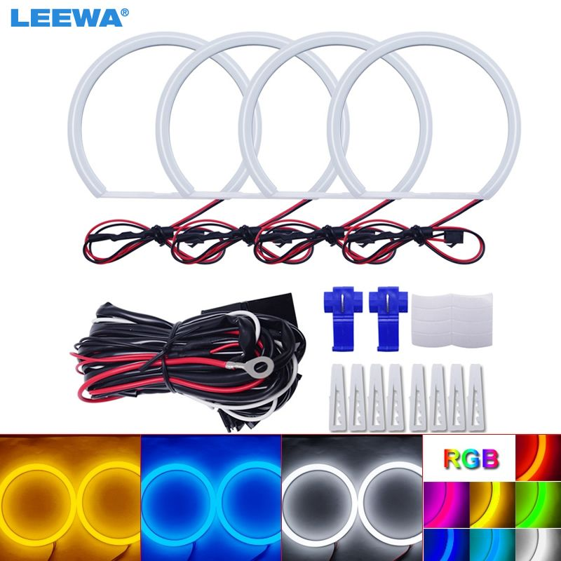 LEEWA 4X131mm Car Auto Halo Rings Cotton Lights SMD LED Angel Eyes for Lada VAZ 2106 Car Styling White/Blue/Yellow/RGB #CA1106