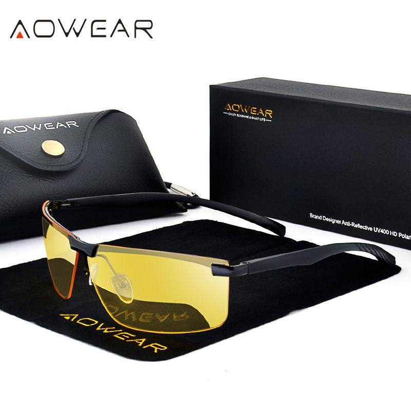 AOWEAR HD Night <font><b>Vision</b></font> Glasses Men Oculos Driver Goggles Yellow Driving Glasses Man Polarized Sunglasses for Night gafas de sol