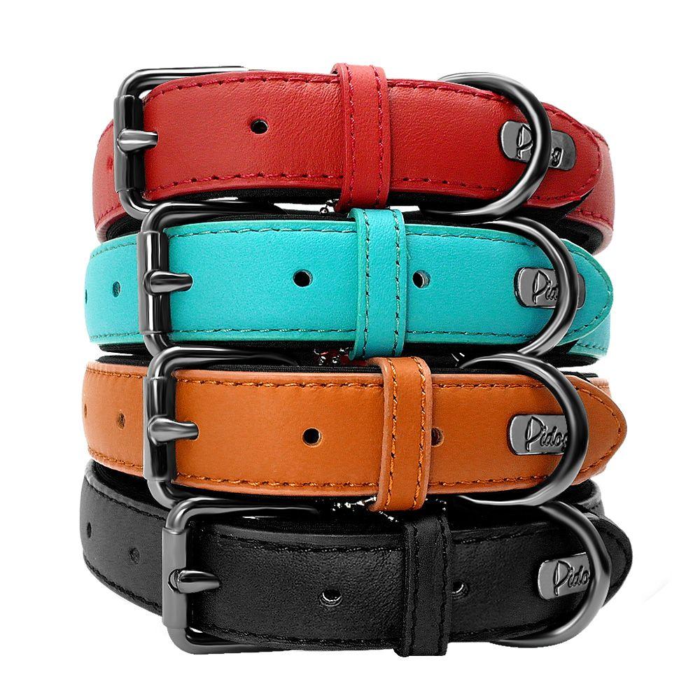 Genuine Leather Dog Collar Padded Adjustable Pitbull Bulldog Collars For Medium Large Dogs German Shepherd Dog Belt Mascotas S-L