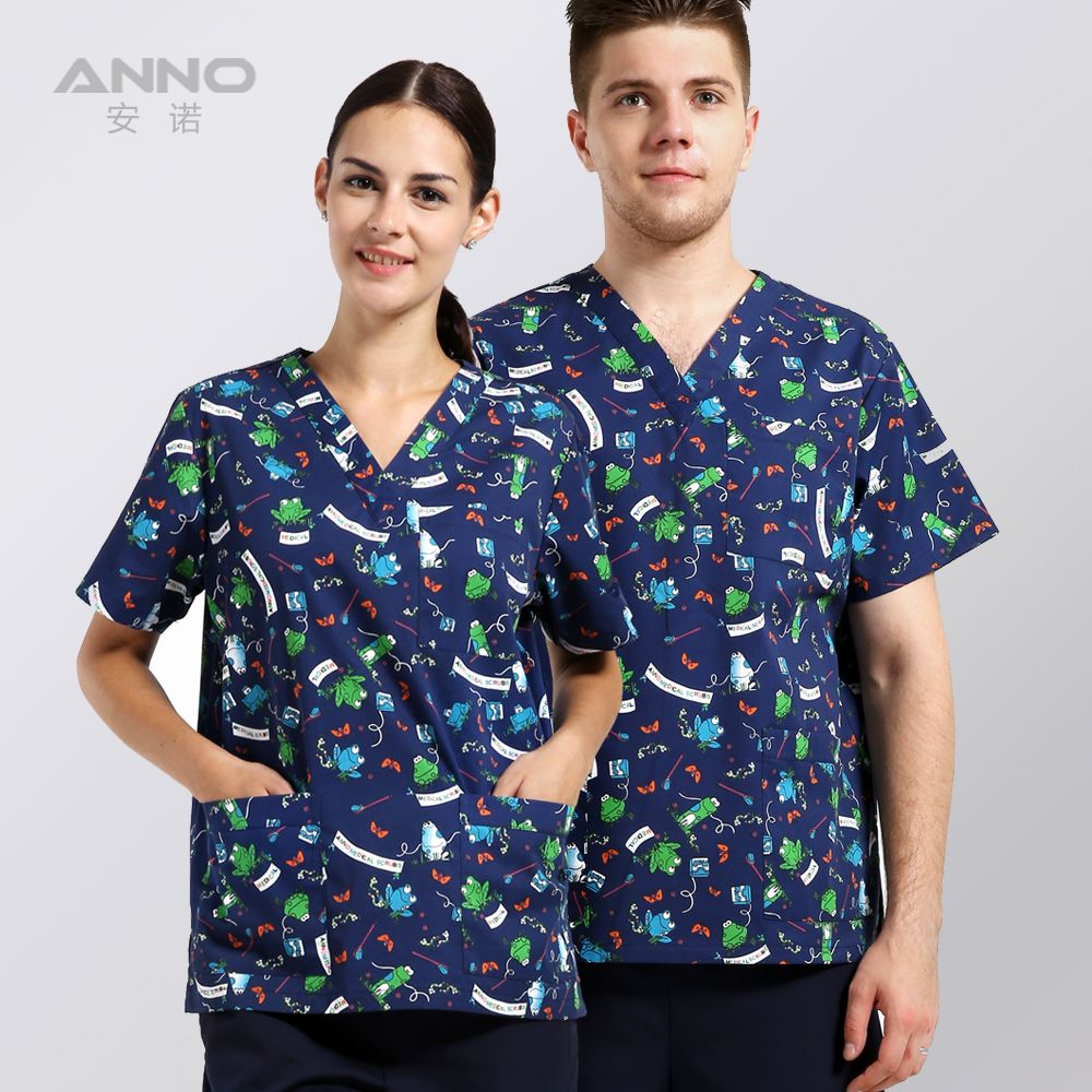 Manches courtes femmes de vêtements médicaux gommages hôpital infirmière uniforme clinique dentaire et beauté salon design de mode slim fit