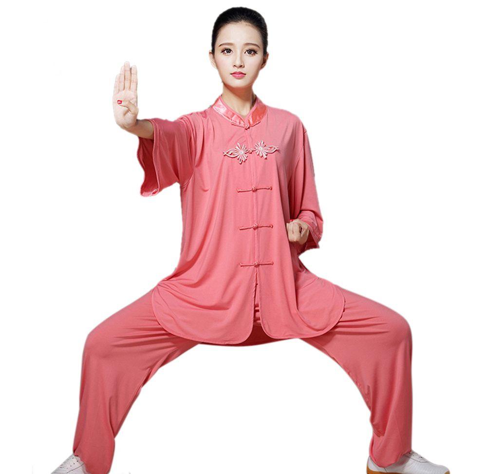 Neue Design Frauen Baumwolle Leinen Reine Farbe Tai Chi Uniform Martial Arts Anzug Kung Fu Für Taiji Kleidung Wushu Kleidung