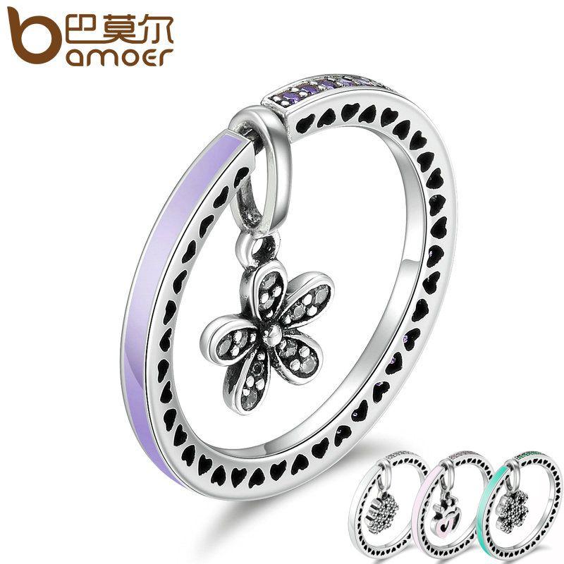 BAMOER 925 Sterling Silver 4 Style Snowflake, Heart & Daisy Flower Finger Rings Women Wedding Engagement Jewelry SCR128