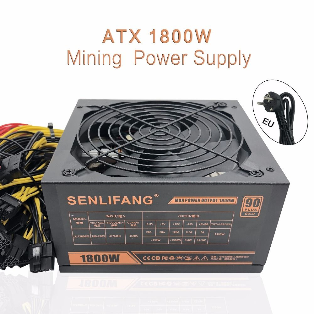 New original Gold POWER 1800W Ethereum ETH power supply for R9 380 RX 470 RX480 6 GPU CARDS 6 months warranty free shipping