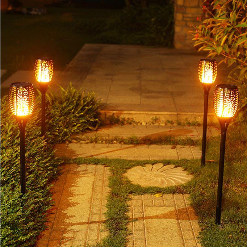 Solar Flame Flickering Outdoor Lawn garden Solar light Smart Tiki Torch Light Solar Torches Dancing Flames Landscape Light
