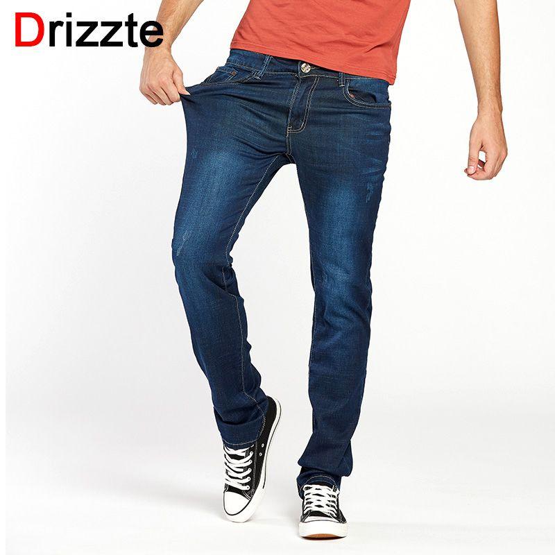 Drizzte Лето Для мужчин синие джинсы Прямые Высокое качество Узкие штаны джинсовые длинные Длина стрейч для Бизнес коммутирующих Для мужчин Жа...