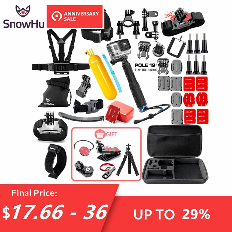 SnowHu for Gopro Accessories set for go pro hero 7 6 5 4 3 kit mount for SJCAM SJ4000 for xiaomi yi camera for xiomi tripod GS21
