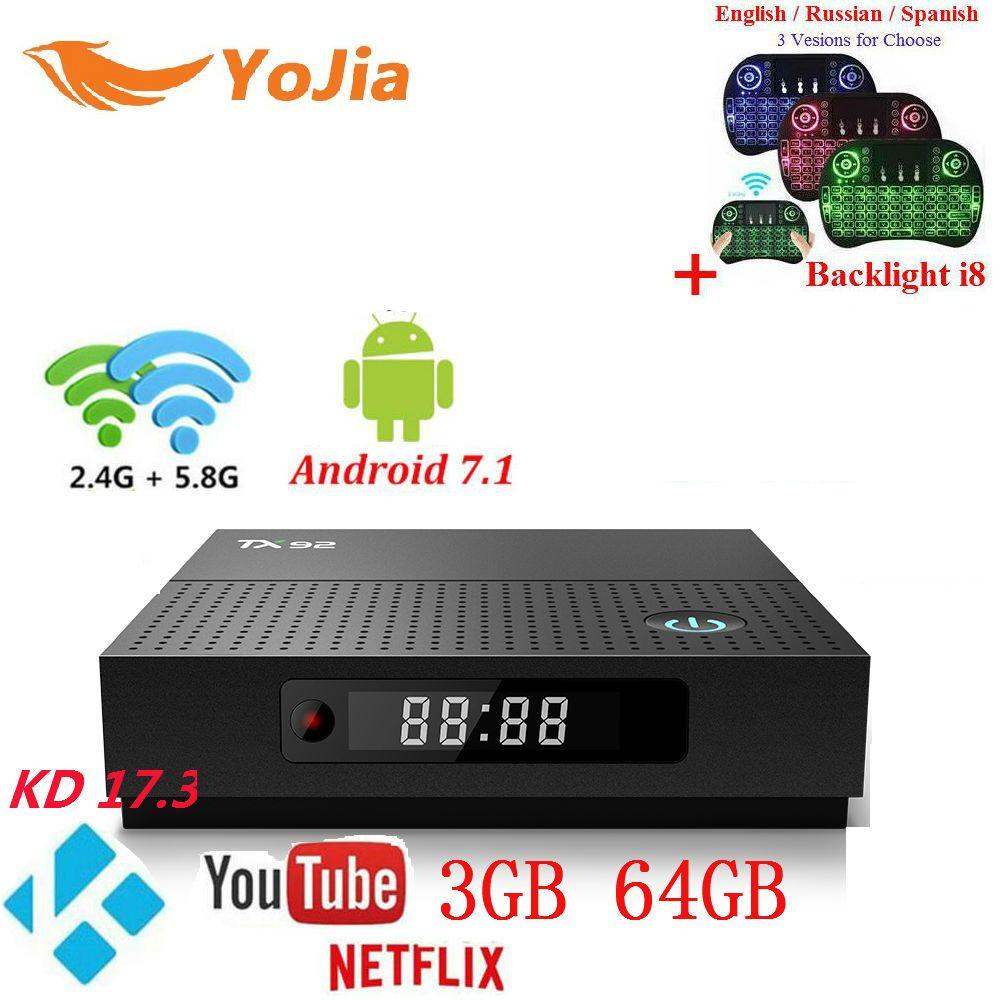 3GB64GB TX92 Amlogic S912 Android 7.1 TV Box Octa Core 2G/16G 3G/32G 1000M LAN Dual Wifi Stalker IPTV Tanix TX92 BT4.1