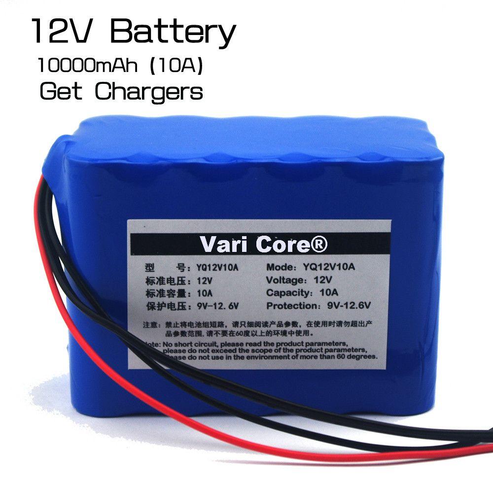 Grande capacité 12 V 10Ah 18650 lithium conseil de protection de la batterie 12.6 v 10000 mah capacité + 12 v 3A batterie chargeur