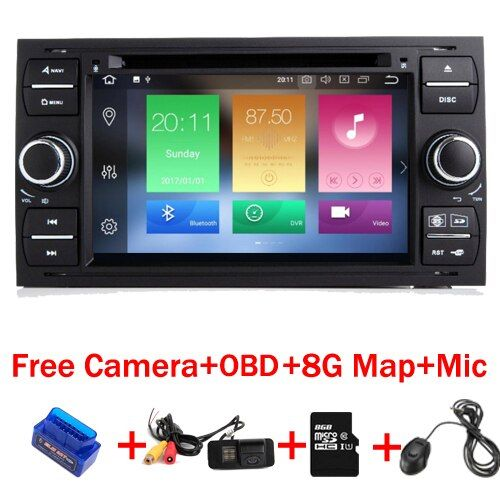 4G+32G 8 Core 7 inch 2 din Android 8.1 Car DVD Player for Ford Focus Kuga Transit Fusion GALAXY 4G Wifi Bluetooth Free map OBD