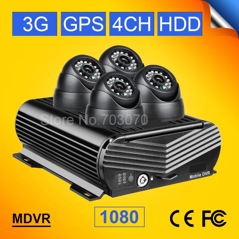 Cctv-überwachungssystem 1080 P 3G GPS 4CH AHD HD Video Mobilen Dvr + 4 STÜCKE Dom Nachtsicht Innen 2.0MP Auto Kamera Für Bus lkw