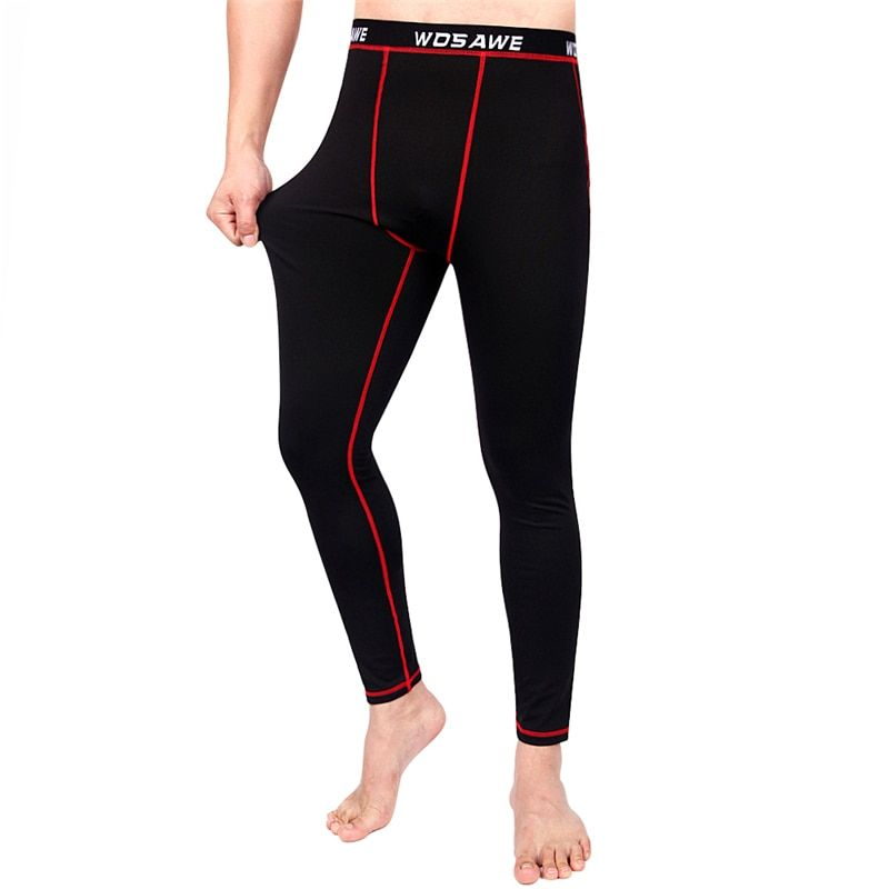 WOSAWE Mens Warm compression pants sports running tights gym pants bodybuilding jogger jogging fleece leggings trousers
