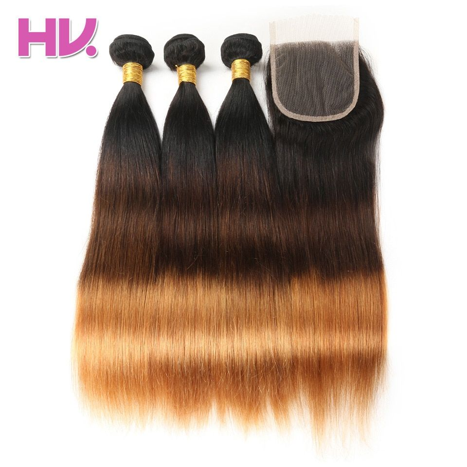 Hair Villa Pre-Colored Peruvian Straight Human Hair 2/3 Bundles #1b/4/30 Non-Remy Ombre Hair Weave With 4*4 Swiss Lace Closure