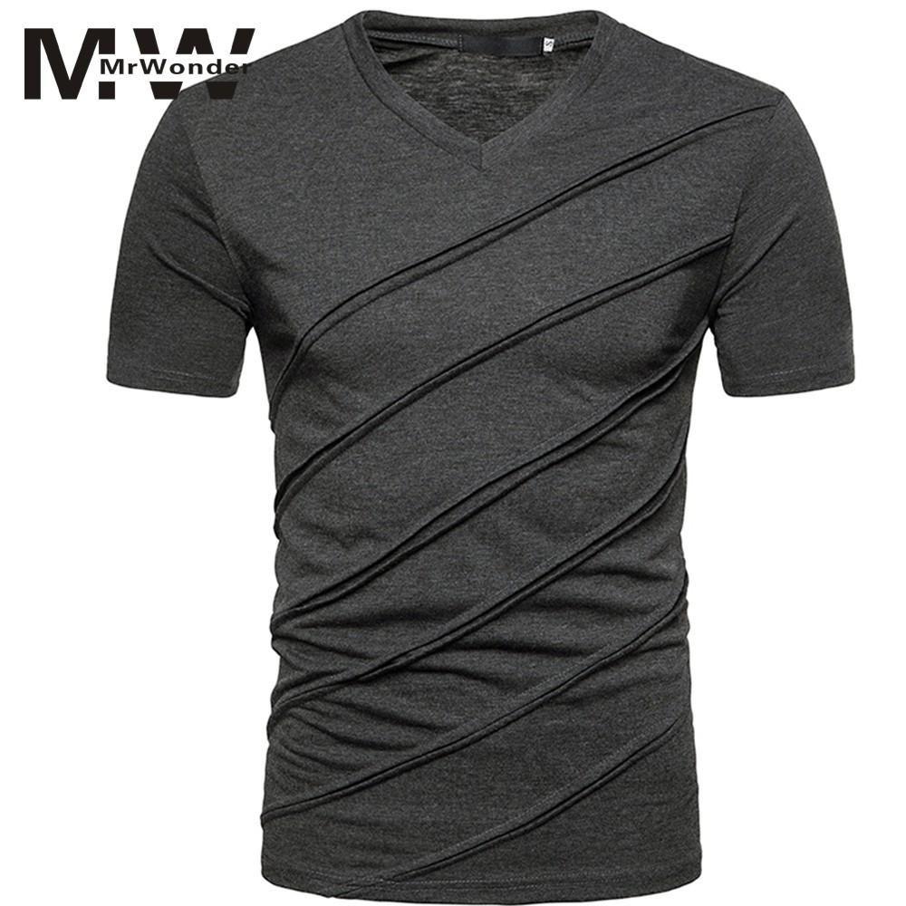 High Grade Männer Diagonal T-shirt Streifen Einfarbig Weiche Baumwolle Kurzarm Tops V hals Reine Weiß t shirt männer SAN0