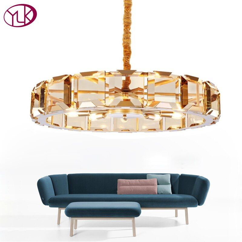 Youlaike Luxury Modern Crystal Chandelier For Living Room High Quality Gold Hang Light Fixtures Round LED Lustres De Cristal