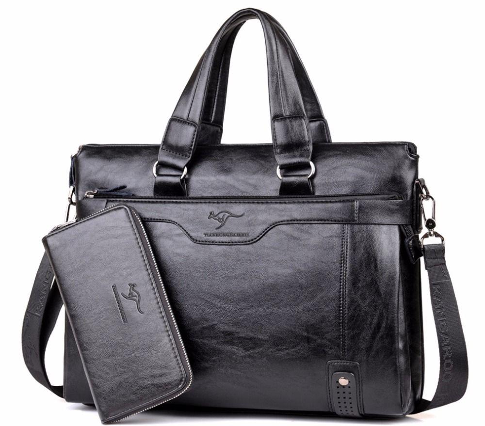 2018 Men Casual Briefcase Business Shoulder Leather Messenger Bags Computer Laptop Handbag Men's Travel Bags handbags