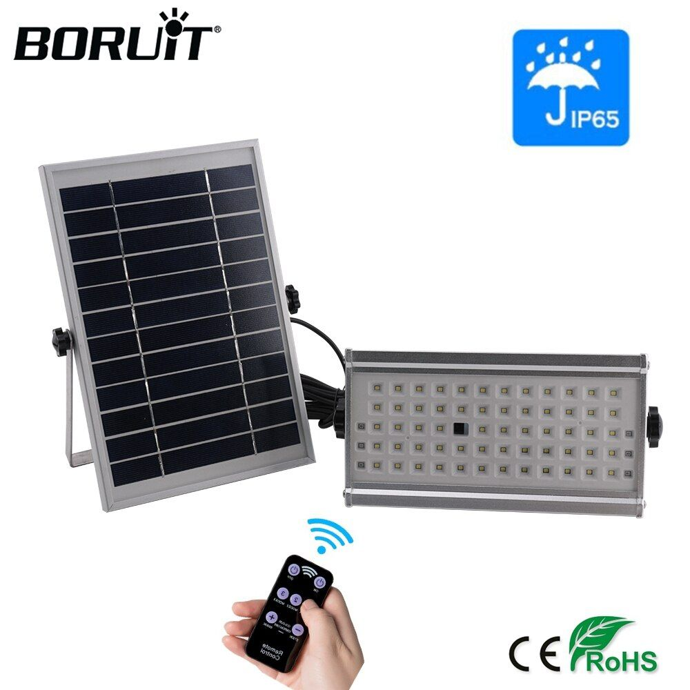 BORUiT 65LED Outdoor Solar Light 1500lm Motion Sensor Solar Spotlight Remote IP65 Waterproof Wall Lamp Home Security Night Light