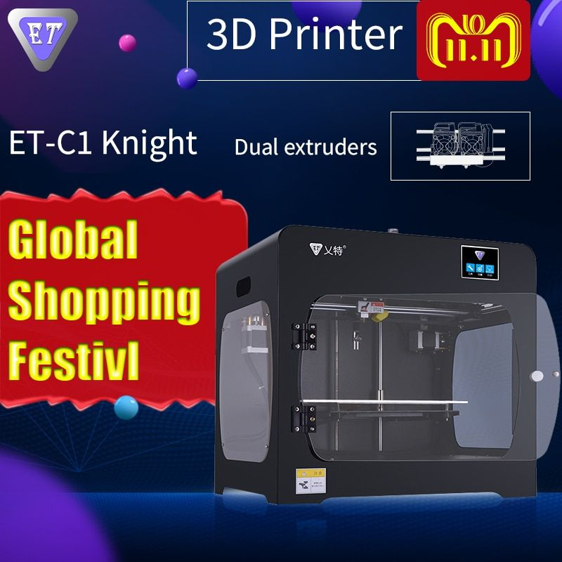 ET 3D Printer C1 Knight New Upgrade With Double Dual Extruder High Resolution Precision Big Plus Size Printing PVA Machine