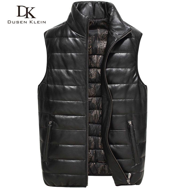 Leather Vest jacket men DK New 2017 Nature sheepskin Duck down Black/Red Slim male leather coats 71Z16011R