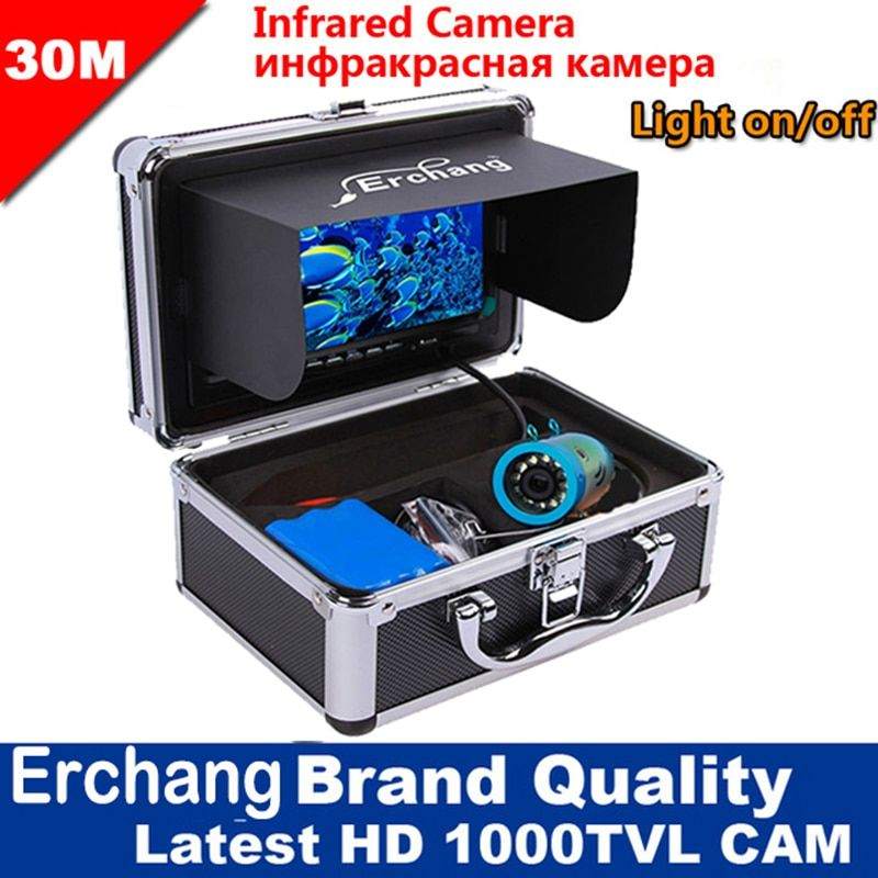 Erchang 1000TVL Fishfinder Underwater Camera Waterproof Fish Finder Underwaer Fish Camera Infrared 15m/30m/50m Ice Fishing Cam