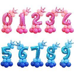 13 шт./компл. воздушные шары на день рождения голубые розовые воздушные шары с цифрами 1, 2, 3, 4, 5, 6, 7, 8, 9 лет, праздничные украшения для дня рожде...