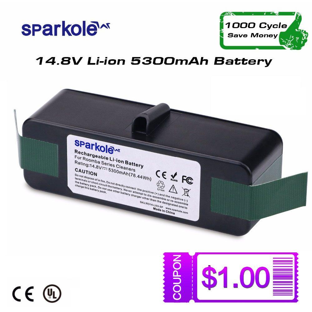 Sparkole 5.3Ah 14.8 V batterie li-ion pour iRobot Roomba 500 600 700 800 Série 510 531 550 560 580 620 630 650 760 770 780 870 880