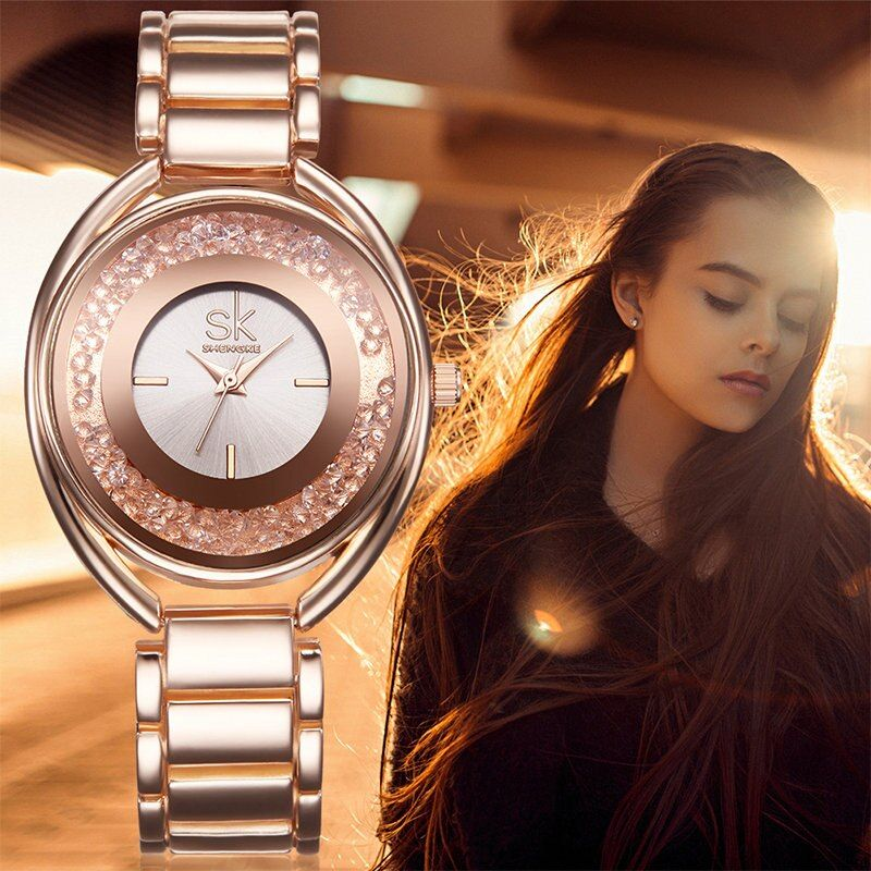 SK Fashion Women's Wrist Watches with Diamond Golden Watchband Top Luxury Brand Ladies Jewelry Bracelet Clock Female Gift 2017