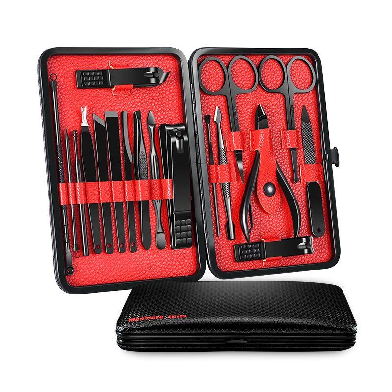 18 pièces/ensemble ensemble de manucure professionnel Nail Art outils de beauté ensembles Kit de tondeuse utilitaire pédicure ciseaux pince couteau oreille choisir