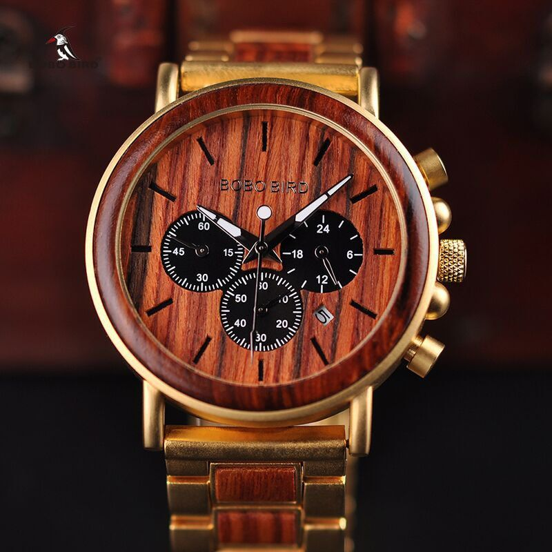 BOBO oiseau or montre hommes de luxe marque en bois montres-bracelets affichage de la Date chronomètre reloj heure d'or