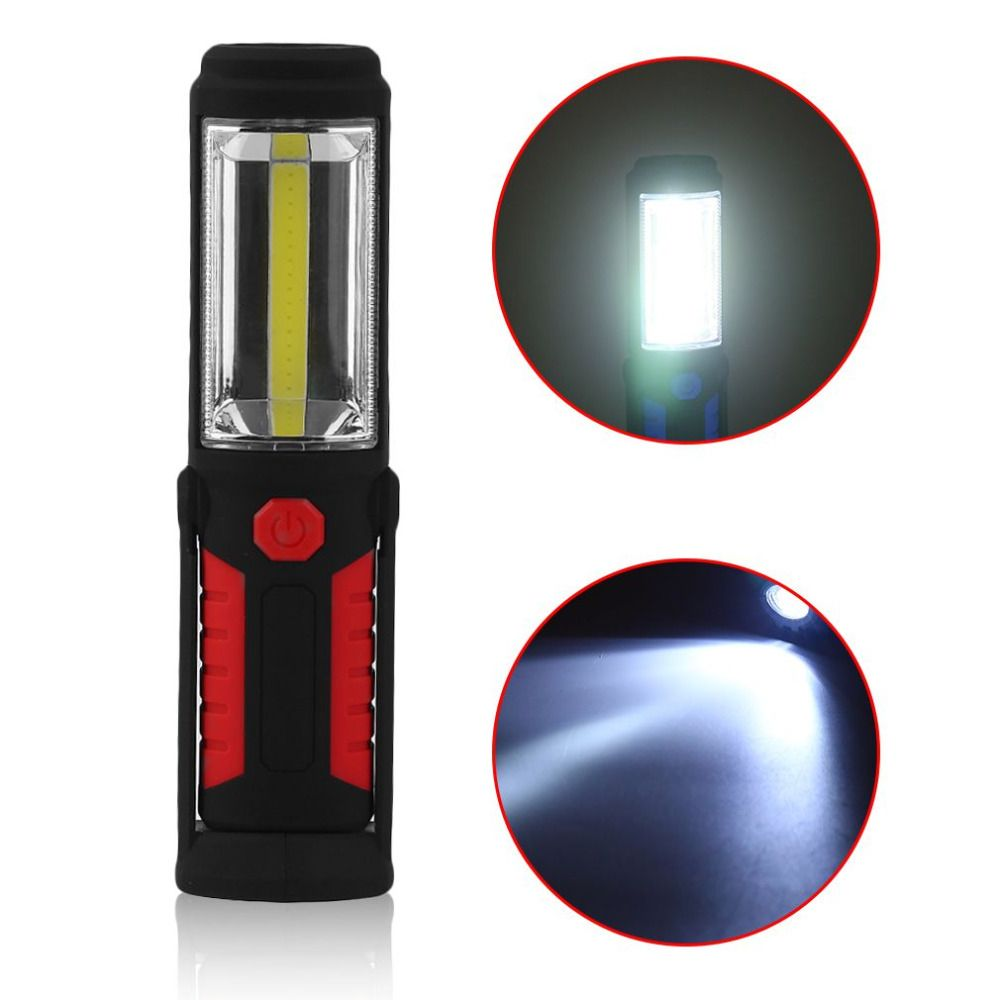Professional Work LED Flashlight Torch Inspection Light Lamp for Auto Repair with 2 Strong Magnets, Camping Emergency Hook Light