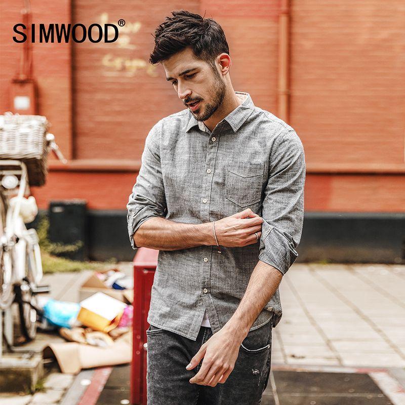 SIMWOOD Casual Chemises Hommes 100% Pur Coton 2019 printemps Nouveau à manches longues shirt Homme Slim Fit Plus Taille Haute Qualité CC017006