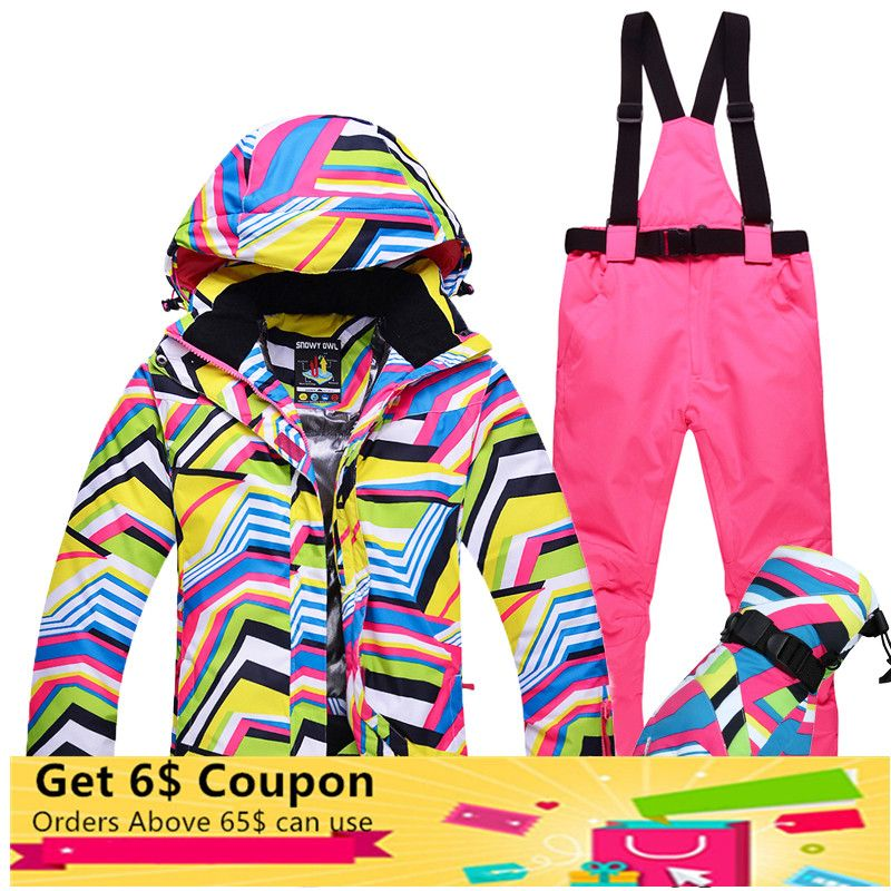 Winter Outdoor Single Double Snowboard Skiing Suits For Women Waterproof Warm Thick Snow Jacket Ski Pants Gloves 3pcs Set