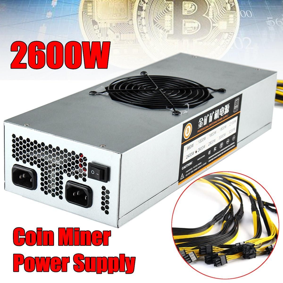 2600w power supply D3 R4 APW3 M1 M3 18*6p,ETH PSU,antminer A4 A6 S7 S9 E9 L-3 BTC LTC DASH miner power supply