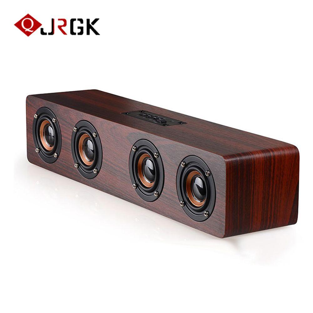 JRGK 12W Hifi Bluetooth Speakers TF caixa de som Wireless Stereo Subwoofer Altavoz Wood Home Audio Desktop speaker Handsfree