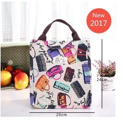 Moda mujer lienzo bolsa de almuerzo aislada bolsa de almuerzo alimentos térmicos Picnic almuerzo bolsa para niños refrigerador almacenamiento bolsa