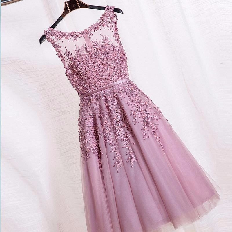 Promotion 2018 Prom Dress Short Dust Pink Beaded Lace Appliques Robe De Soiree Knee Length Party Prom Dress