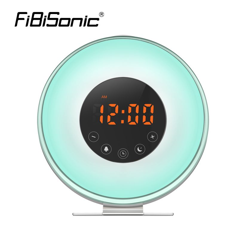 Wake Up Light Alarm Clock,Sunrise Simulation Alarm Clock With 6 Natural Sounds,FM Radio,Snooze&Sunset Function,7 Color LED Light